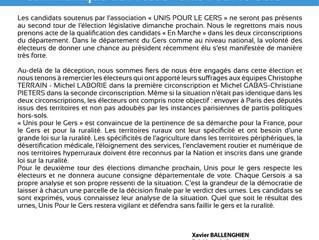Communiqué de l'Association Unis Pour le Gers - Elections législatives