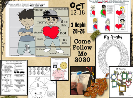 Come follow Me 2020, Oct 12-18, 3 Nephi 20-26, Free LDS primary lesson helps, Free printable's