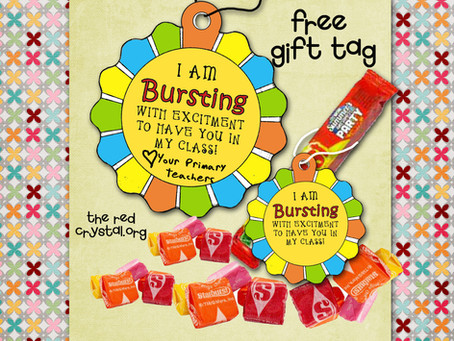 Free Gift tag, back to class printable for starburst candy