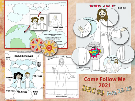 Come Follow Me- For Primary, D&C 93, August 23-29, Free LDS Primary Lesson Helps.