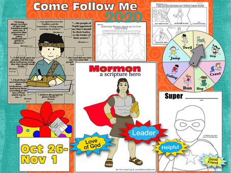 Come Follow Me 2020, Oct 26-Nov 1. Free LDS primary lesson helps, and printable's