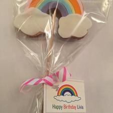 rainbow cookie on a stick