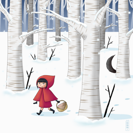 Le petit chaperon rouge sous la neige