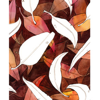 autumn negative space gum leaves