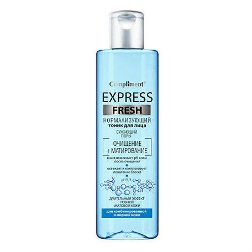 Compliment Express Fresh нормализующий тоник для лица сужающий поры, 250мл