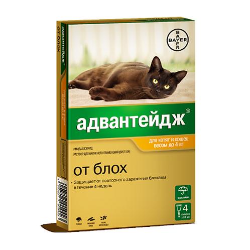 Advantage 40К капли на холку для котят и кошек до 4 кг пипетки, 4 шт.