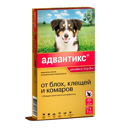 Advantix 250С капли на холку для собак от 10 до 25 кг пипетка, 1 шт.