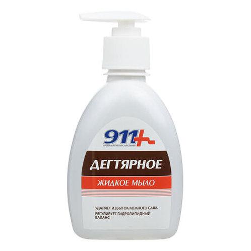 911 Мыло Дегтярное с антибактериальным эффектом, флакон 250 мл