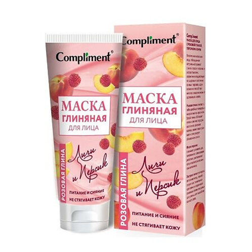 Compliment Маска для лица с розовой глиной персиком и личи, 80 мл
