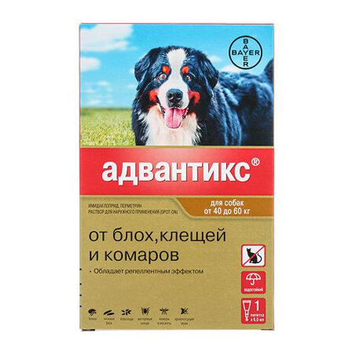 Advantix XXL капли на холку для собак от 40 до 60 кг пипетка, 1 шт.