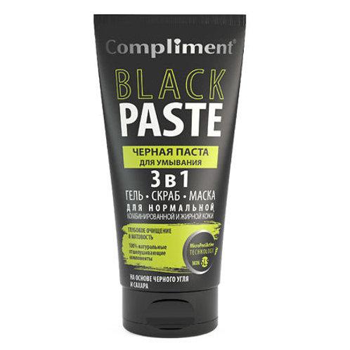 Compliment Black Paste Черная паста для умывания 3 в 1 (гель, скраб, маска), 1..