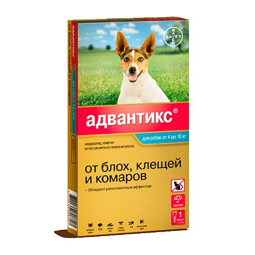Advantix 100С капли на холку для собак от 4 до 10 кг пипетка, 1 шт.