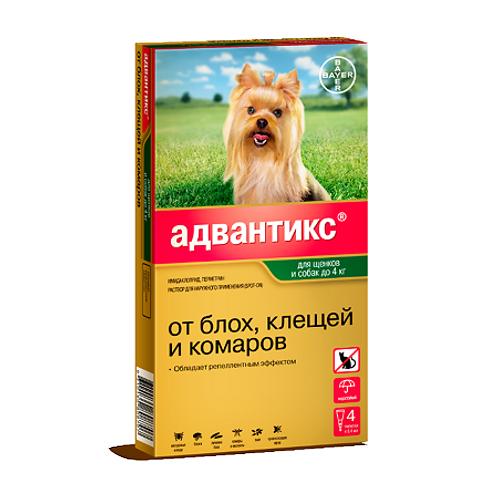Advantix 40С капли на холку для щенков и собак до 4 кг пипетки, 4 шт.