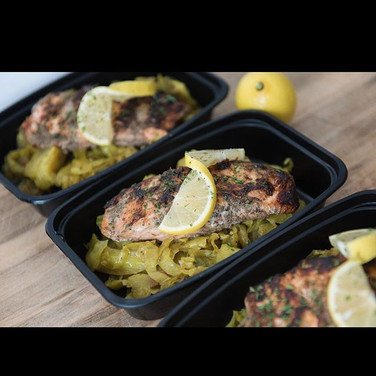 My blackened salmon and curry cabbage is