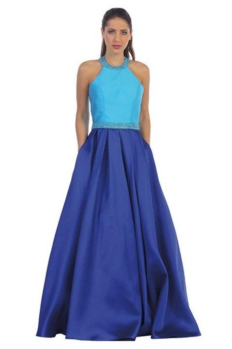 Vestido azul bicolor