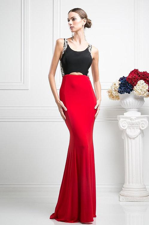 Vestido Rojo con Negro