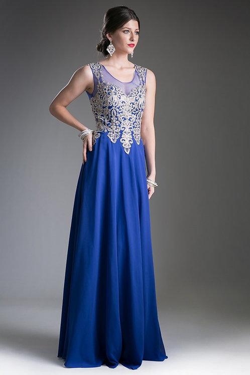 Vestido Azul Rey con Dorado
