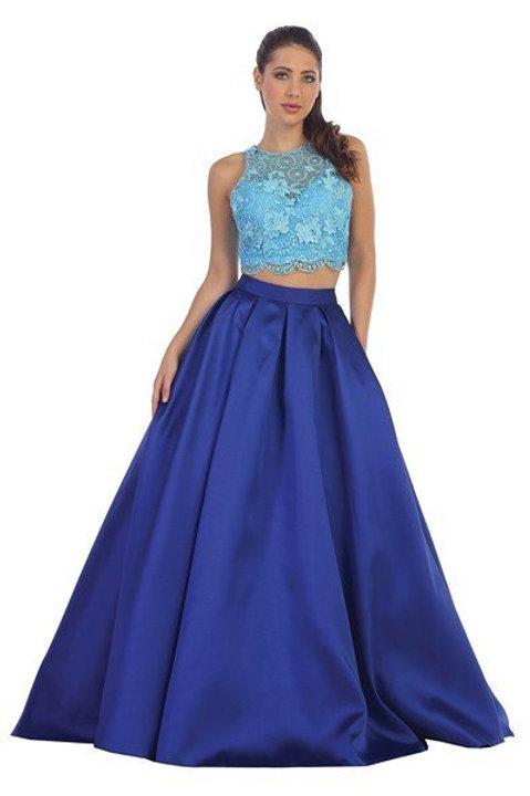 Vestido de fiesta Azul Rey con Aqua