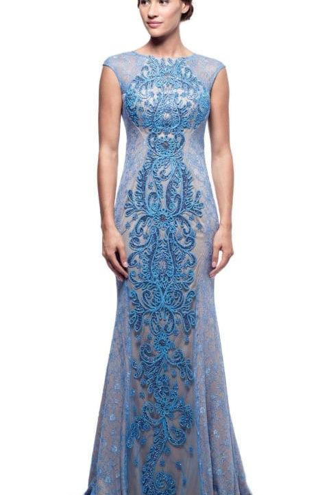 Vestido nude/azul