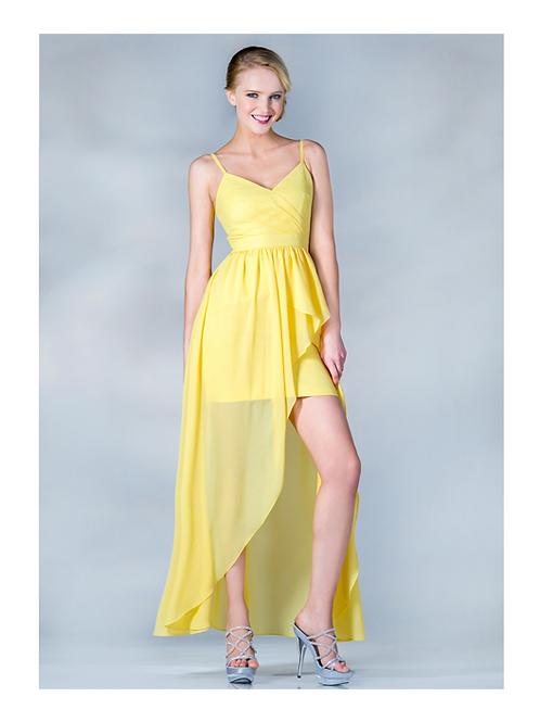Vestido Amarillo Corto-Largo