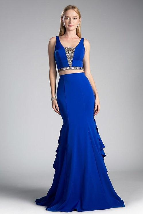 Vestido azul rey pegado