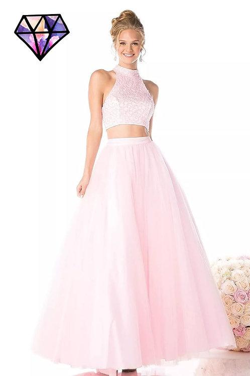 Vestido rosa crop top