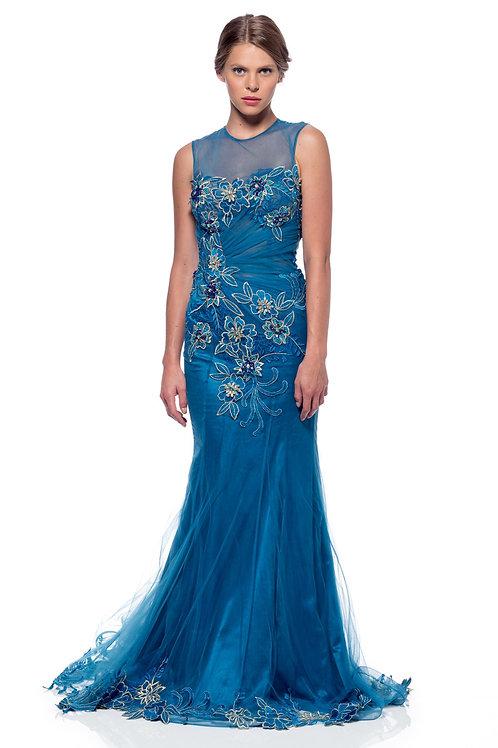 Vestido Azul Rey Bordado