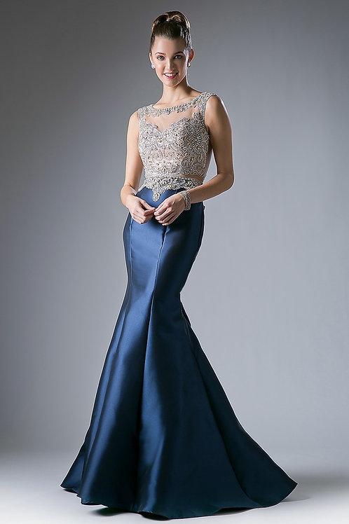 Vestido Azul Marino con Pedrería