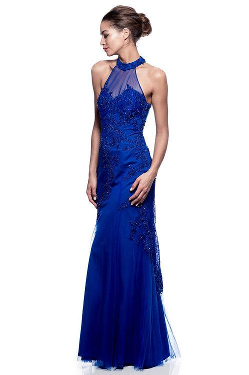 Vestido azul asimetrico