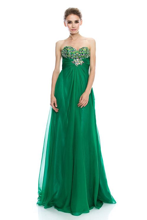 Vestido Verde con Pedrería