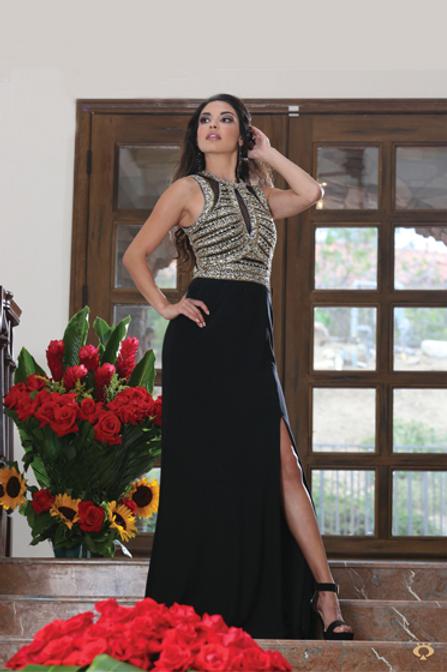 Vestido Negro con Pedrería