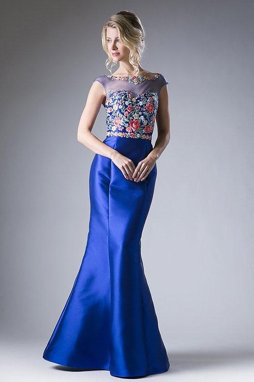 Vestido Azul Rey Floreado