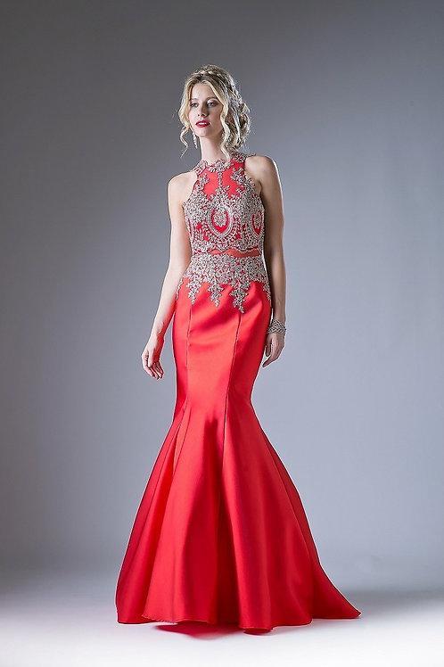 Vestido Rojo con Dorado