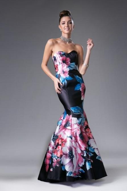 Vestido Negro Floreado Sirena