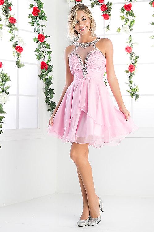 Vestido Corto Rosa