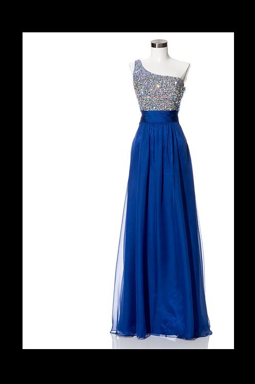 Vestido azul rey pedrería
