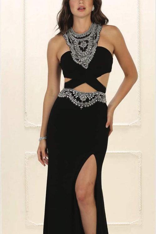 Vestido negro abierto