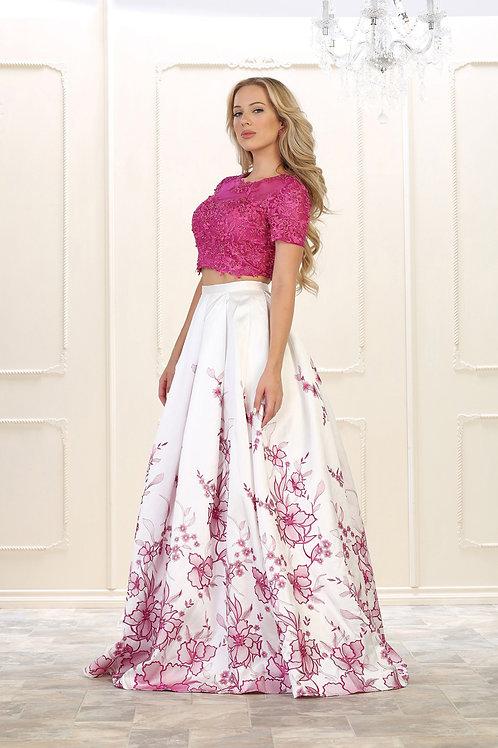 Vestido Fuchia /Blanco