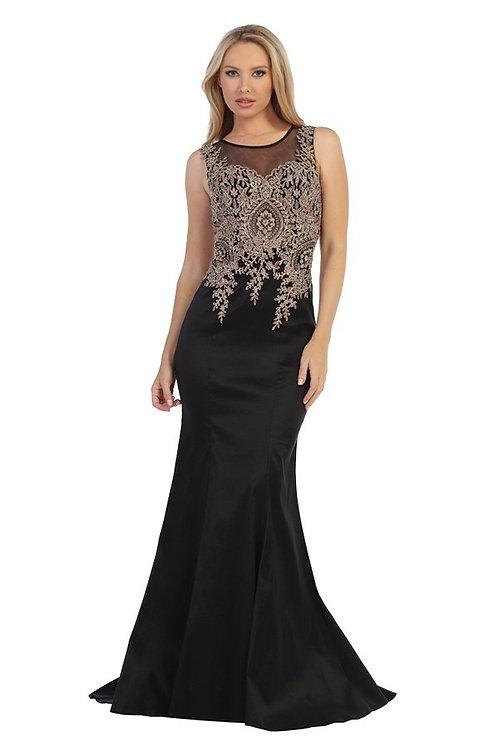 Vestido Negro con Dorado