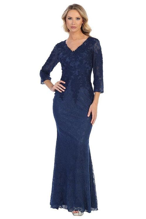 Vestido azul marino con mangas