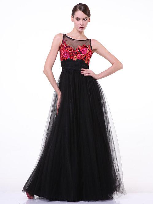 Vestido Negro Floreado