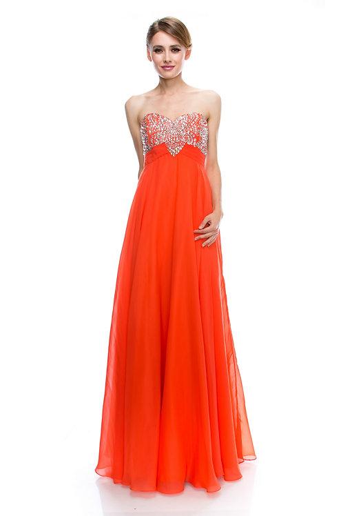 Vestido Naranja Strapless