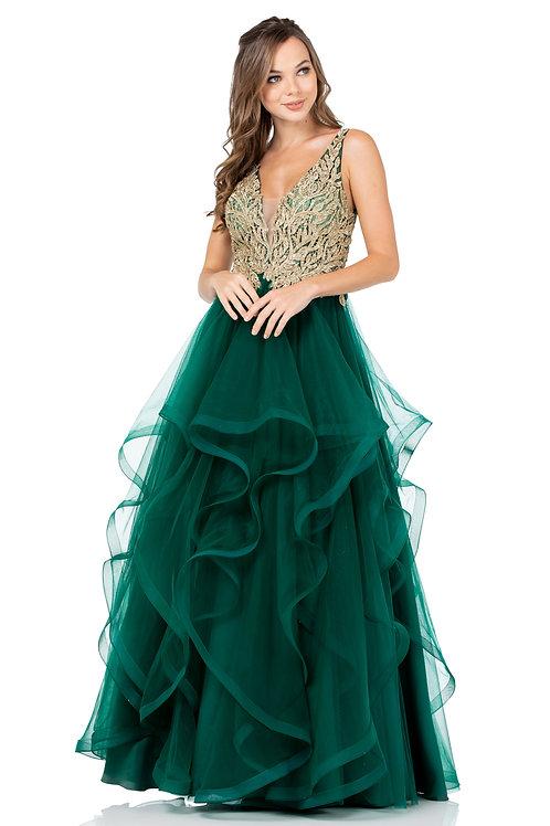 Vestido Verde con Dorado