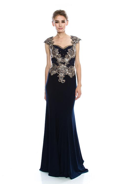 Vestido Azul Marino con Dorado
