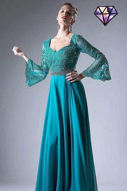 Vestido teal verde azulado