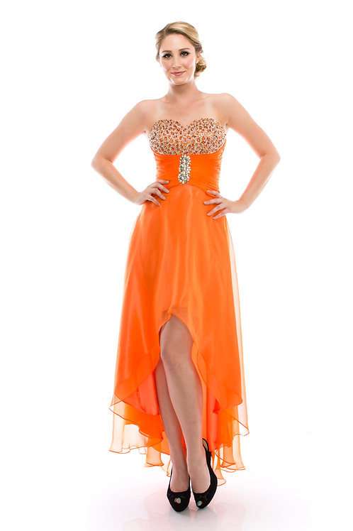 Vestido Naranja Corto-Largo