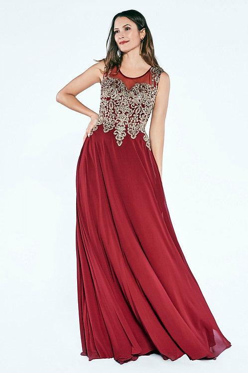 Vestido Vino con Dorado