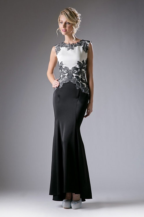 Vestido Negro con Blanco