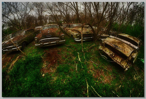 Abandoned Parking Lot at Old Car City USA