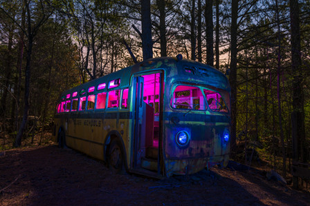 Light painted Oak Ridge School Bus